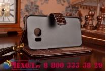 Фирменный чехол-книжка с подставкой для Samsung Galaxy S6 Edge лаковая кожа крокодила цвет  коричневый