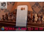 Фирменная из тонкого и лёгкого пластика задняя панель-чехол-накладка для Samsung Galaxy S6 Edge прозрачная с э..