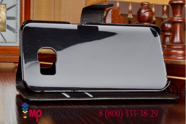 Фирменный чехол-книжка из качественной импортной кожи с подставкой застёжкой и визитницей для Samsung Galaxy S6 Edge SM-G925F черный