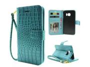 Фирменный чехол-книжка с подставкой для Samsung Galaxy S6 Edge лаковая кожа крокодила цвет морской волны бирюз..