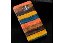 """Фирменная неповторимая экзотическая панель-крышка обтянутая кожей крокодила с фактурным тиснением для Samsung Galaxy S6 Edge SM-G925F тематика """"Африканский Коктейль"""". Только в нашем магазине. Количество ограничено."""