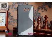 Фирменная ультра-тонкая полимерная мягкая задняя панель-чехол-накладка для Samsung Galaxy S6 Edge черная..
