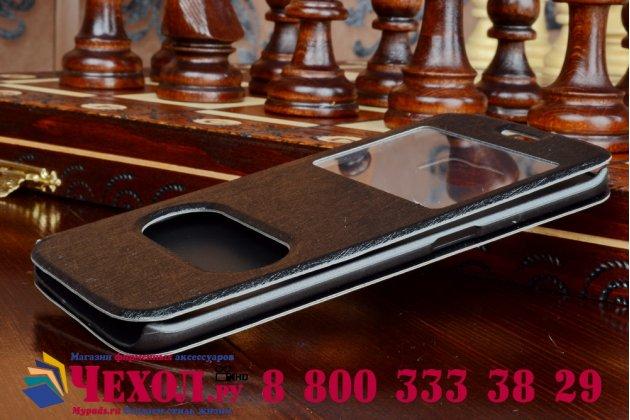 Фирменный чехол-книжка для Samsung Galaxy S6 Edge черный с окошком для входящих вызовов и свайпом водоотталкивающий