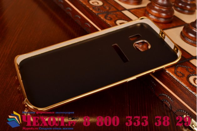Фирменная металлическая задняя панель-крышка-накладка из тончайшего облегченного авиационного алюминия для Samsung Galaxy S6 Edge золотая