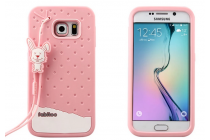 """Фирменная необычная уникальная полимерная мягкая задняя панель-чехол-накладка для Samsung Galaxy S6 Edge """"тематика Андроид в клубничном шоколаде"""""""