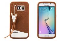"""Фирменная необычная уникальная полимерная мягкая задняя панель-чехол-накладка для Samsung Galaxy S6 Edge """"тематика Андроид в тёмном Шоколаде"""""""