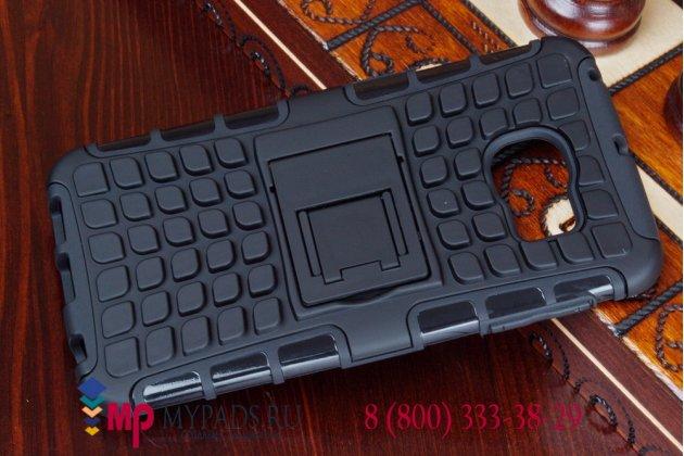Противоударный усиленный грязестойкий фирменный чехол-бампер-пенал для Samsung Galaxy S6 Edge черный