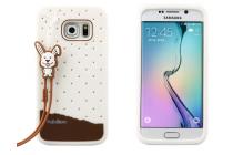 """Фирменная необычная уникальная полимерная мягкая задняя панель-чехол-накладка для Samsung Galaxy S6 Edge """"тематика Андроид в Белом Шоколаде"""""""