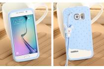 """Фирменная необычная уникальная полимерная мягкая задняя панель-чехол-накладка для Samsung Galaxy S6 Edge """"тематика Андроид в черничном шоколаде"""""""