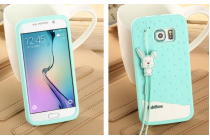 """Фирменная необычная уникальная полимерная мягкая задняя панель-чехол-накладка для Samsung Galaxy S6 Edge """"тематика Андроид в мятном шоколаде"""""""