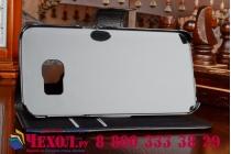 Фирменный чехол-книжка из качественной импортной кожи с подставкой застёжкой и визитницей для Samsung Galaxy S6 черный