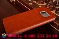 Фирменный чехол-книжка из качественной водоотталкивающей импортной кожи на жёсткой металлической основе для Samsung Galaxy S6 коричневый