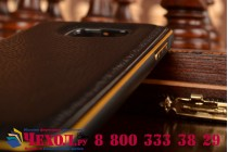 Фирменная роскошная элитная премиальная задняя панель-крышка на металлической основе обтянутая импортной кожей для Samsung Galaxy S6 королевский черный