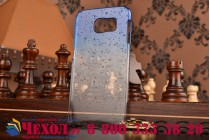 Фирменная ультро-тонкая сииконовая задняя панель-чехол-накладка для Samsung Galaxy S6 прозрачная с эффектом дождя