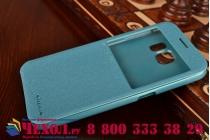 Фирменный оригинальный чехол-книжка для Samsung Galaxy S6 голубой кожаный с окошком для входящих вызовов