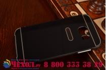 Фирменная металлическая задняя панель-крышка-накладка из тончайшего облегченного авиационного алюминия для Samsung Galaxy S6 черная