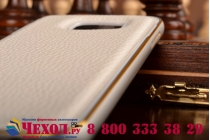 Фирменная роскошная элитная премиальная задняя панель-крышка на металлической основе обтянутая импортной кожей для Samsung Galaxy S6 королевский белый