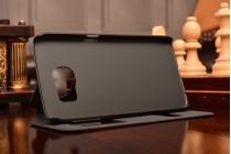 Фирменный чехол-книжка для Samsung Galaxy S6 черный с окошком для входящих вызовов и свайпом водоотталкивающий