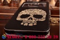 Фирменный чехол-книжка с безумно красивым расписным рисунком черепа на Samsung Galaxy S6 с окошком для звонков