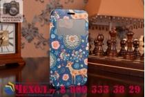 Фирменный чехол-книжка с безумно красивым расписным рисунком Оленя в цветах на Samsung Galaxy S6 с окошком для звонков