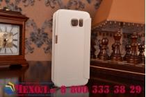 Фирменный оригинальный чехол-книжка для Samsung Galaxy S6 белый кожаный с окошком для входящих вызовов