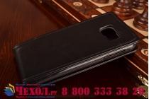 """Фирменный оригинальный вертикальный откидной чехол-флип для Samsung Galaxy S6 черный кожаный """"Prestige"""" Италия"""