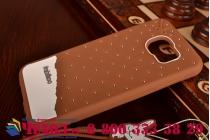 """Фирменная необычная уникальная полимерная мягкая задняя панель-чехол-накладка для Samsung Galaxy S6 """"тематика Андроид в тёмном Шоколаде"""""""