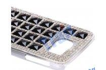 Фирменная роскошная задняя-панель-накладка декорированная кристалликами и и алмазиками на Samsung Galaxy S6