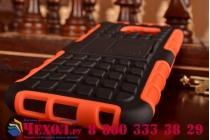 Противоударный усиленный ударопрочный фирменный чехол-бампер-пенал для Samsung Galaxy S6 оранжевый
