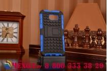 Противоударный усиленный ударопрочный фирменный чехол-бампер-пенал для Samsung Galaxy S6 синий