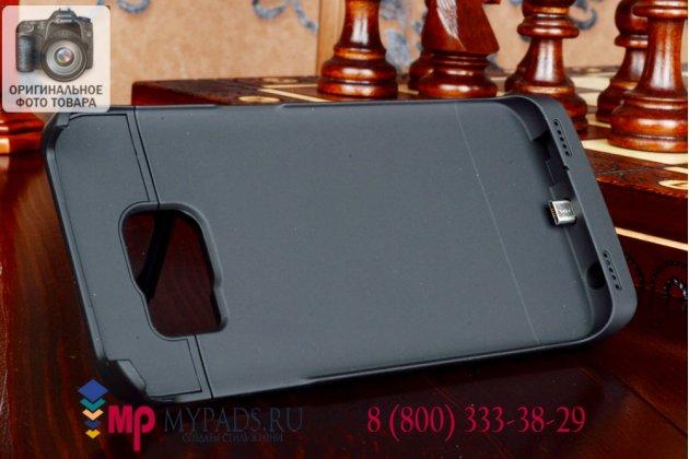 Чехол-бампер со встроенной усиленной мощной батарей-аккумулятором большой повышенной расширенной ёмкости 4200mAh для Samsung Galaxy S6 Edge SM-G925F + гарантия