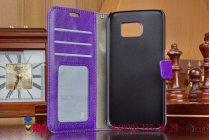 Фирменный чехол-книжка из качественной импортной кожи с подставкой застёжкой и визитницей для Samsung Galaxy S6 фиолетовый