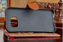 Фирменный чехол-книжка с подставкой для Samsung Galaxy S6 лаковая кожа крокодила шоколадный
