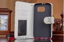 """Фирменный чехол-книжка с подставкой и визитницей для Samsung Galaxy S6 """"змеиная кожа"""" белый кожаный"""