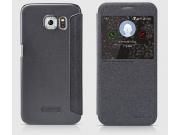 Фирменный оригинальный чехол-книжка для Samsung Galaxy S6 черный кожаный с окошком для входящих вызовов..