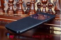 Фирменный оригинальный чехол-книжка для Samsung Galaxy S6 SM-G920F черный пластиковый с окошком для входящих вызовов