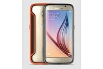 Фирменный оригинальный чехол-бампер для Samsung Galaxy S6 оранжевый прорезиненный усиленный