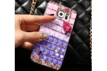 Фирменная роскошная элитная пластиковая задняя панель-накладка украшенная стразами кристалликами формы духов для Samsung Galaxy S6 фиолетовая