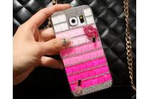 Фирменная роскошная элитная пластиковая задняя панель-накладка украшенная стразами кристалликами и декорированная элементами для Samsung Galaxy S6 малиновая
