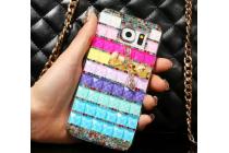 Фирменная роскошная элитная пластиковая задняя панель-накладка украшенная стразами кристалликами и декорированная элементами для Samsung Galaxy S6 радужная