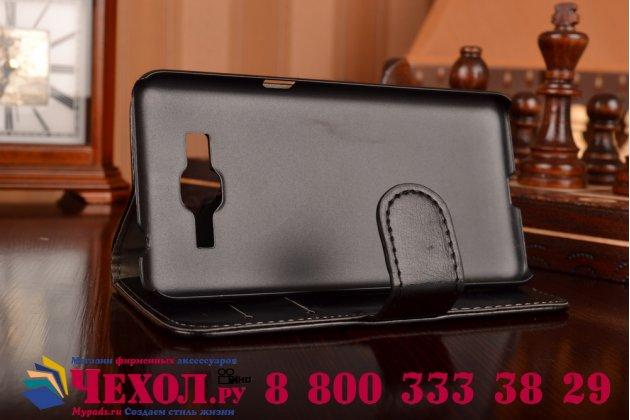 Фирменный чехол-книжка из качественной импортной кожи с мульти-подставкой застёжкой и визитницей для Самсунг Галакси Адванс Г350Е  черный