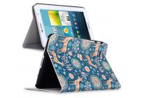"""Фирменный эксклюзивный необычный чехол-футляр для Samsung Galaxy Tab 2 7.0 P3100/P3110 """"тематика Олени в цветах"""" голубой"""