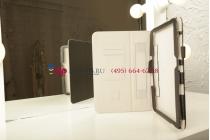 """Фирменный чехол-обложка для Samsung Galaxy Tab 3 10.1 P5200 с визитницей и держателем для руки черный кожаный """"Prestige"""" Италия"""