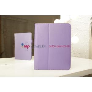 """Чехол-обложка для Samsung Galaxy Tab 3 10.1 P5200 с визитницей и держателем для руки фиолетовый натуральная кожа """"Prestige"""" Италия"""