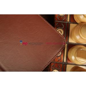 """Фирменный чехол-обложка для Samsung Galaxy Tab 3 10.1 P5200 с визитницей и держателем для руки коричневый натуральная кожа """"Prestige"""" Италия"""