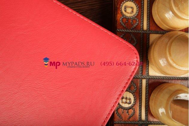 """Фирменный чехол-обложка для Samsung Galaxy Tab 3 10.1 P5200 с визитницей и держателем для руки красный натуральная кожа """"Prestige"""" Италия"""