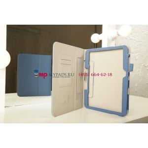 """Фирменный чехол-обложка для Samsung Galaxy Tab 3 10.1 P5200 синий """"Prestige"""" натуральная кожа Италия"""