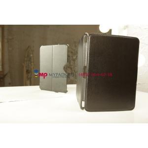 """Фирменный чехол открытого типа без рамки вокруг экрана с мульти-подставкой для Samsung Galaxy Tab 3 10.1 GT-P5200/P5210 черный """"Deluxe"""" натуральная кожа Италия"""
