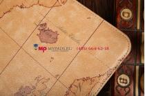 """Чехол для Samsung Galaxy Tab 3 10.1 GT-P5200/P5210 """"тематика карта мира"""" кожаный коричневый"""