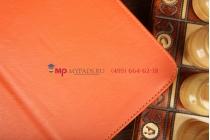 """Фирменный чехол-обложка для Samsung Galaxy Tab 3 10.1 GT-P5200/P5210 с визитницей и держателем для руки оранжевый натуральная кожа """"Prestige"""" Италия"""